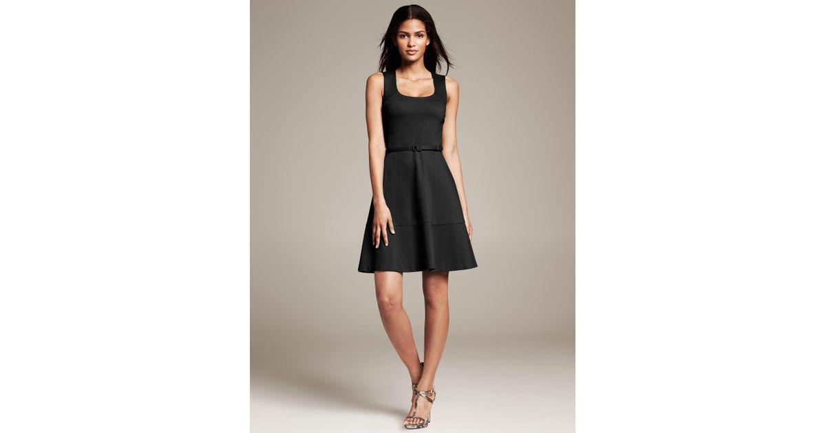 4cef971ceba Banana Republic Belted Ponte Fit-And-Flare Dress in Black - Lyst