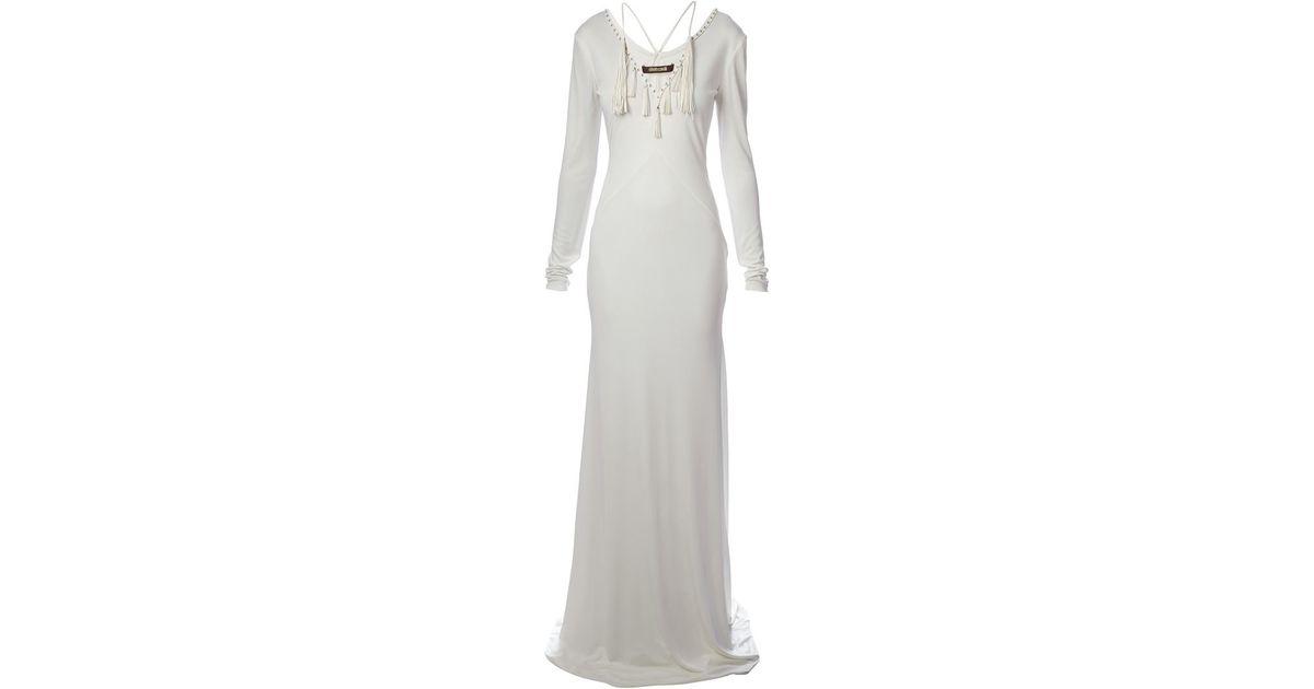 Lyst - Roberto Cavalli Tassel Detailed Evening Gown in White