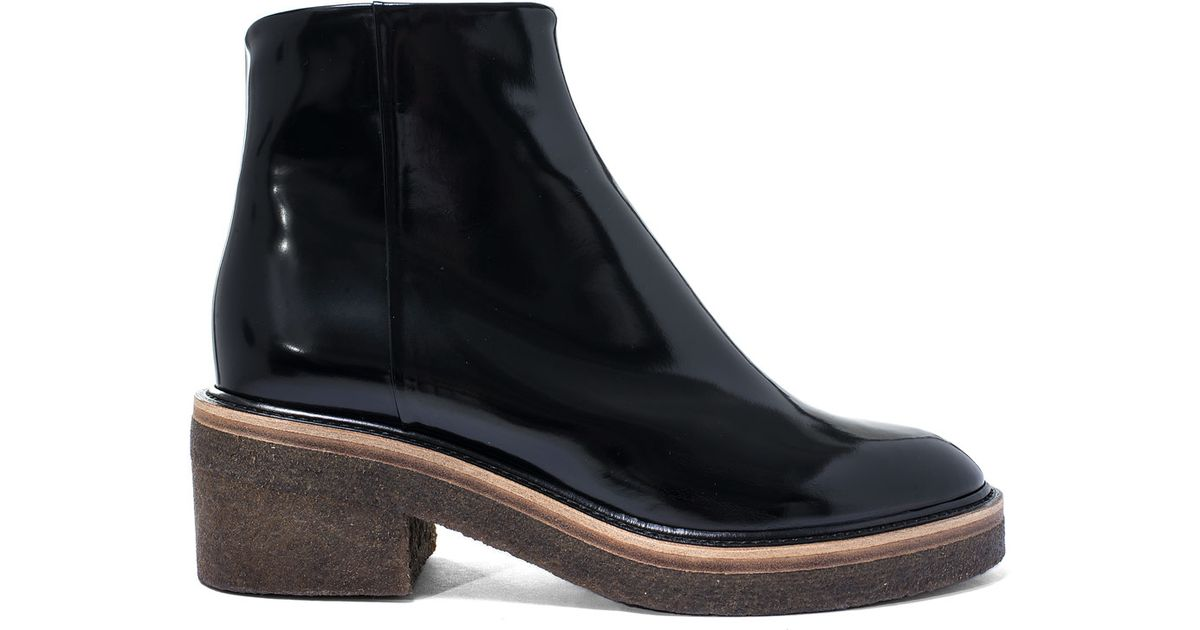b1c4a6d214b432 Dries Van Noten Black Crepe Sole Leather Ankle Boots in Black - Lyst