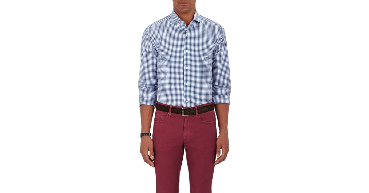Barba men 39 s checked seersucker shirt in blue for men lyst for Mens seersucker shirts on sale