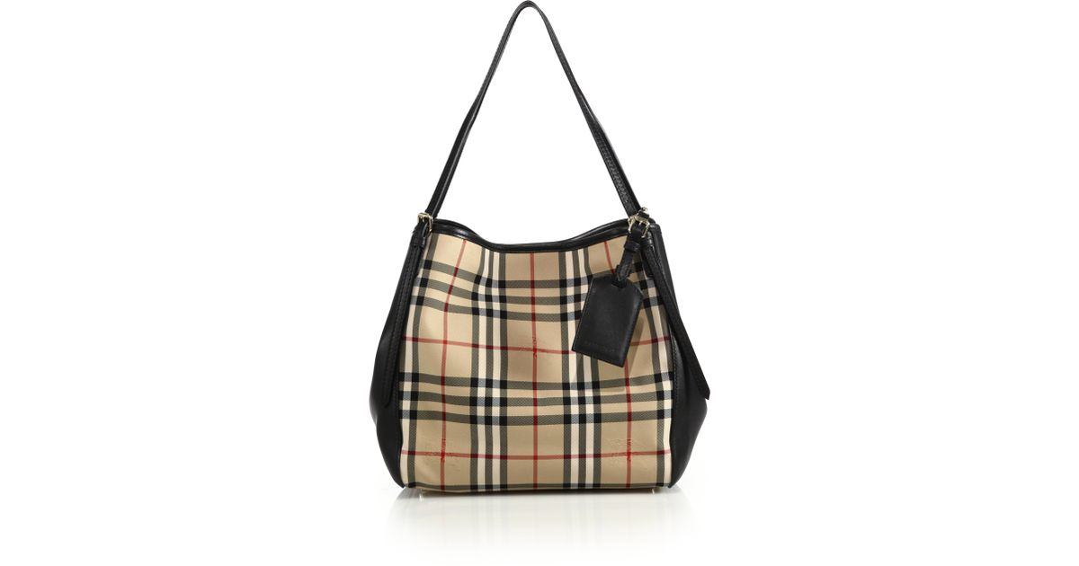 1975dd09b656 Lyst - Burberry Canter Small Horseferry Check Textile   Leather Tote in  Brown