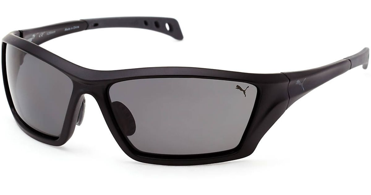 3325cdcfdd Lyst - PUMA Pu14701P Black   Grey Sport Wrap Polarized Sunglasses in Black  for Men