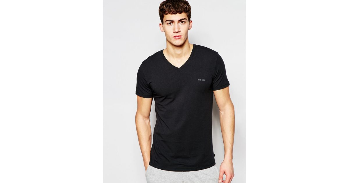 Diesel Logo V-neck T-shirt In Regular Fit in Black for Men | Lyst