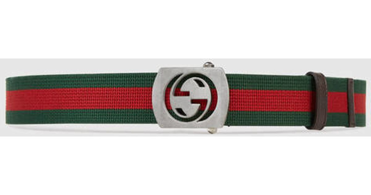b6d90247772 Lyst - Gucci Canvas Belt With Cut Out G Buckle in Green