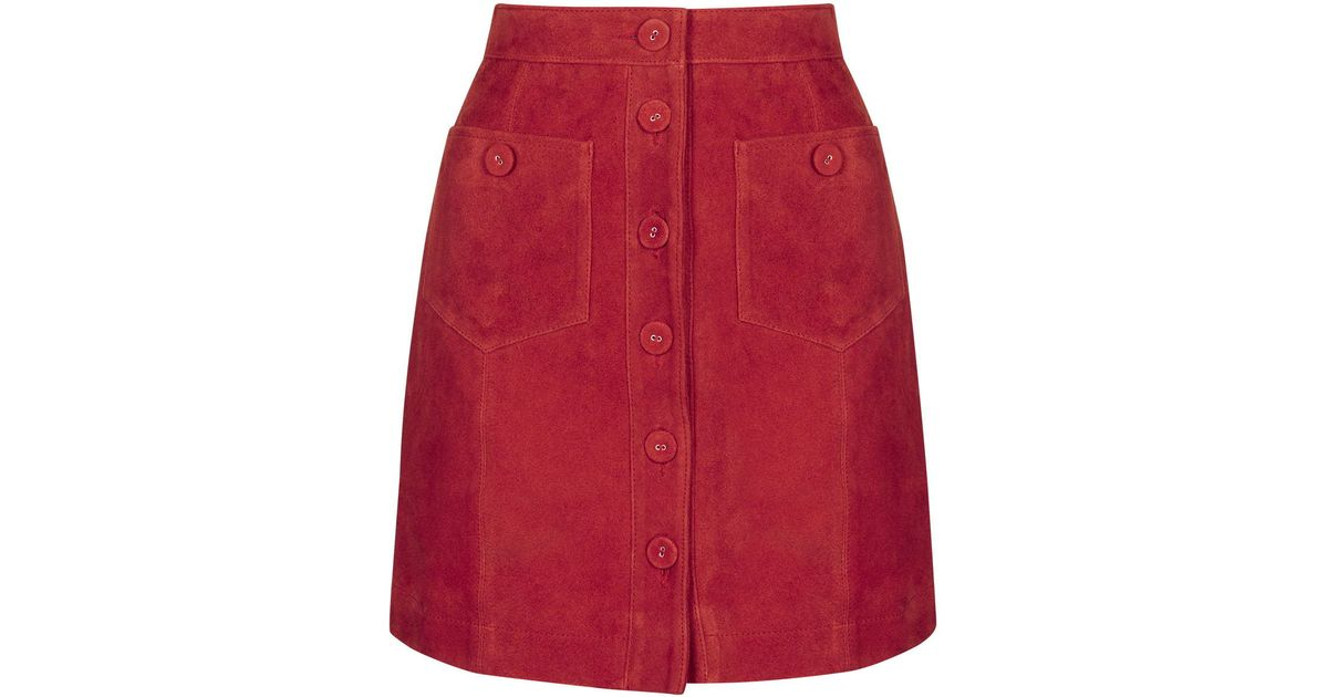 966252d224 TOPSHOP Tall Button Suede Skirt in Red - Lyst