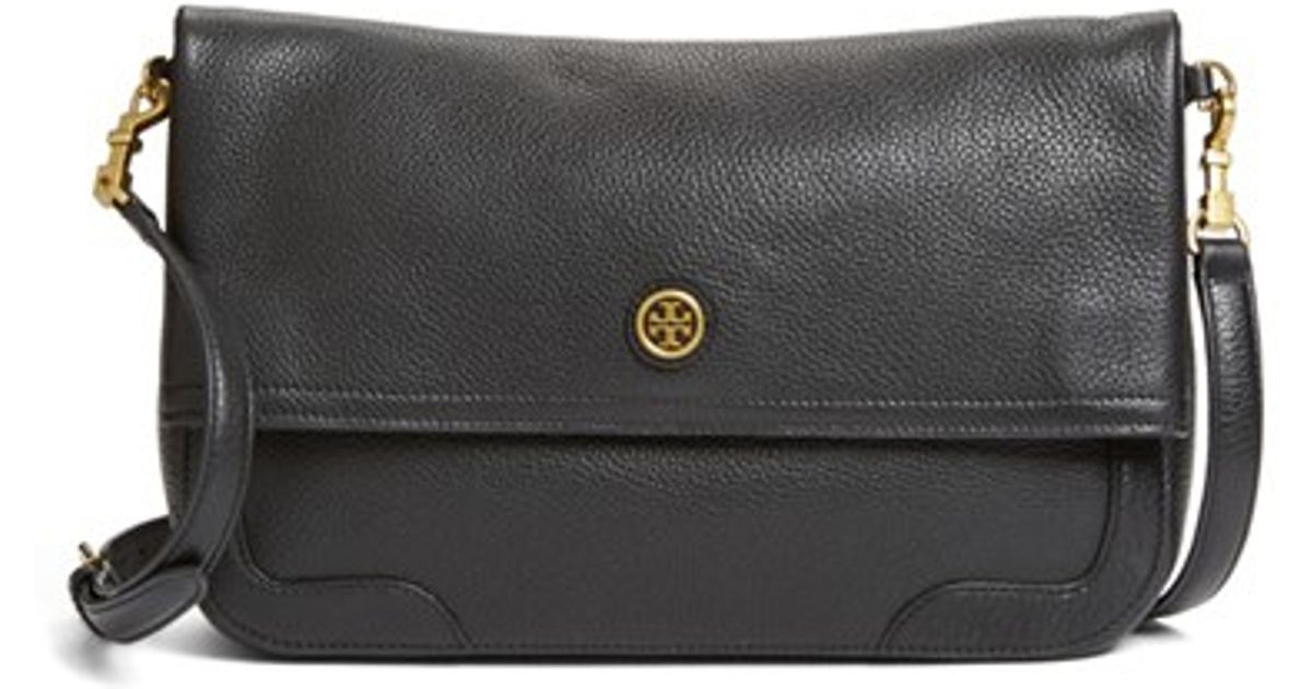 778edfc585e8 ... shop lyst tory burch frances leather messenger bag in black 3a22f ada56