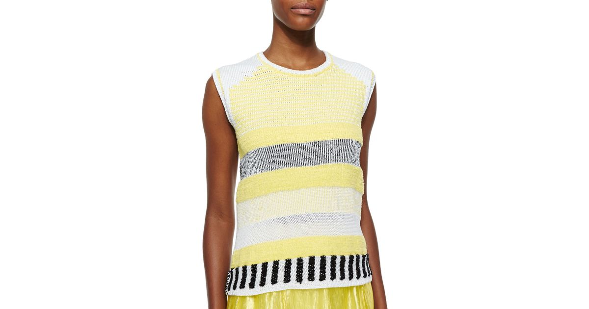 Lyst Risto Grid Pattern Sleeveless Knit Top In Yellow