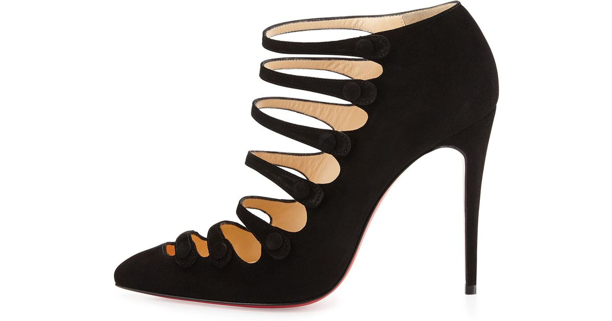 Christian louboutin Viennana Suede Red Sole Bootie in Black | Lyst