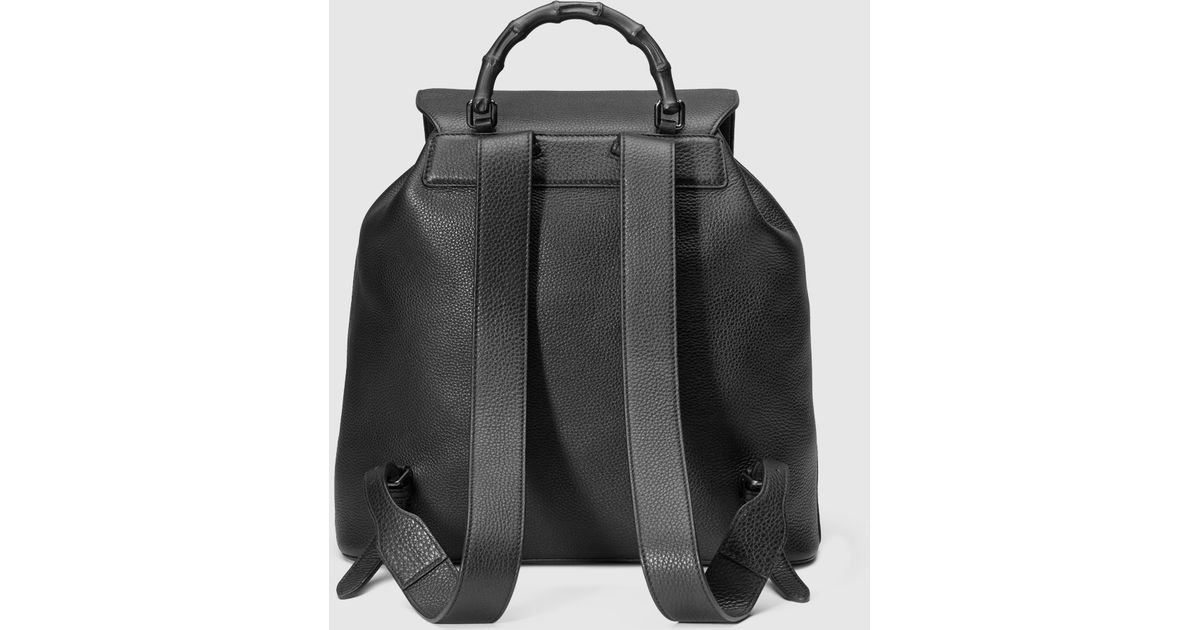 0478bd086 Gucci Leather Backpack With Bamboo Details in Black for Men - Lyst