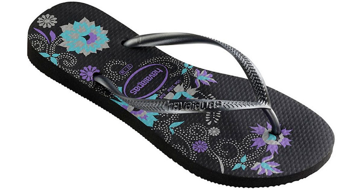 73ffd305878bbe Lyst - Havaianas Slim Organic Rubber Thong Sandals in Black