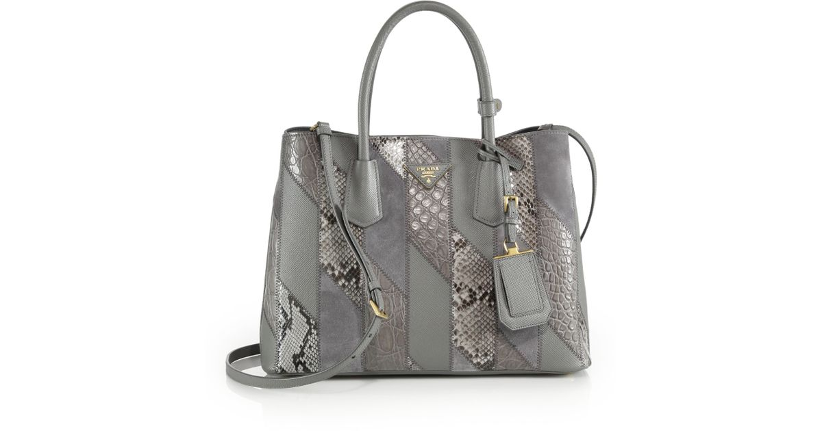 what does prada sell - Prada Patchwork Crocodile, Python, Suede \u0026amp; Saffiano Leather Tote ...