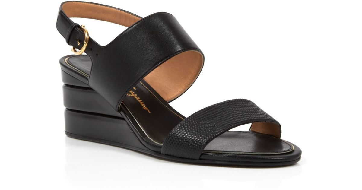 3b1faa92b986 Lyst - Ferragamo Open Toe Slingback Wedge Sandals - My Happiness in Black