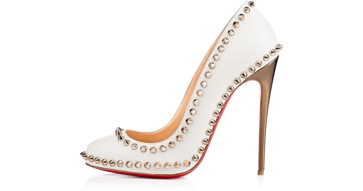 6078946c6d4 Christian Louboutin - White Dorispiky Studded Leather Pumps - Lyst