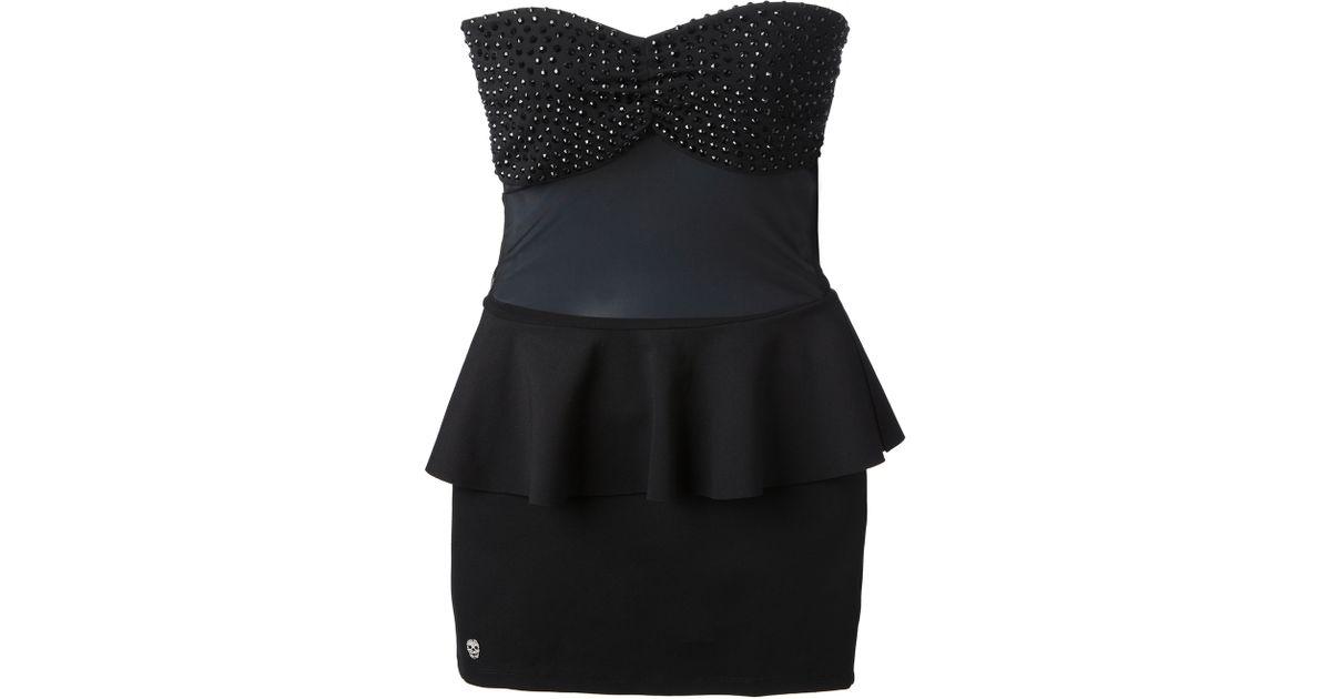 Lyst Philipp Plein Corsage Peplum Dress In Black