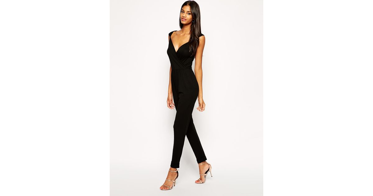 f224dd00c75 Lyst - ASOS Wrap Plunge Jumpsuit With Cap Sleeves in Black