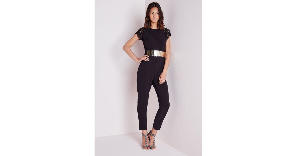 71299528ff3 Lyst - Missguided Lace Cap Sleeve Jumpsuit Black in Black