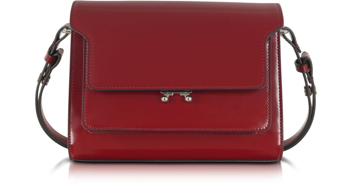 f9111098580 Lyst - Marni Metal Trunk Dark Red Leather Small Shoulder Bag in Red