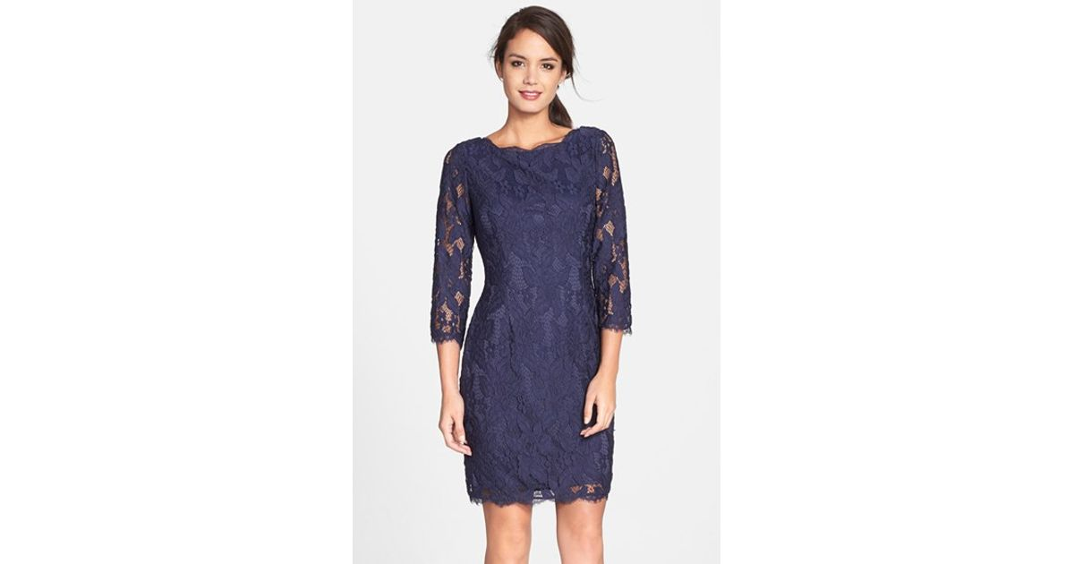 9397a73f Adrianna Papell Lace Sheath Dress in Blue - Lyst