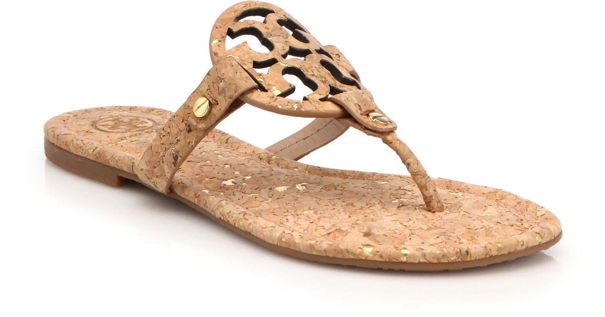 5738645c5 Lyst - Tory Burch Miller Cork Logo Thong Sandals in Natural