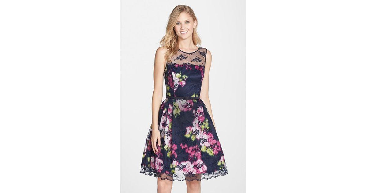 c0ada8c4ece8 Lyst - Eliza J Belted Lace Overlay Floral Print Dress in Blue