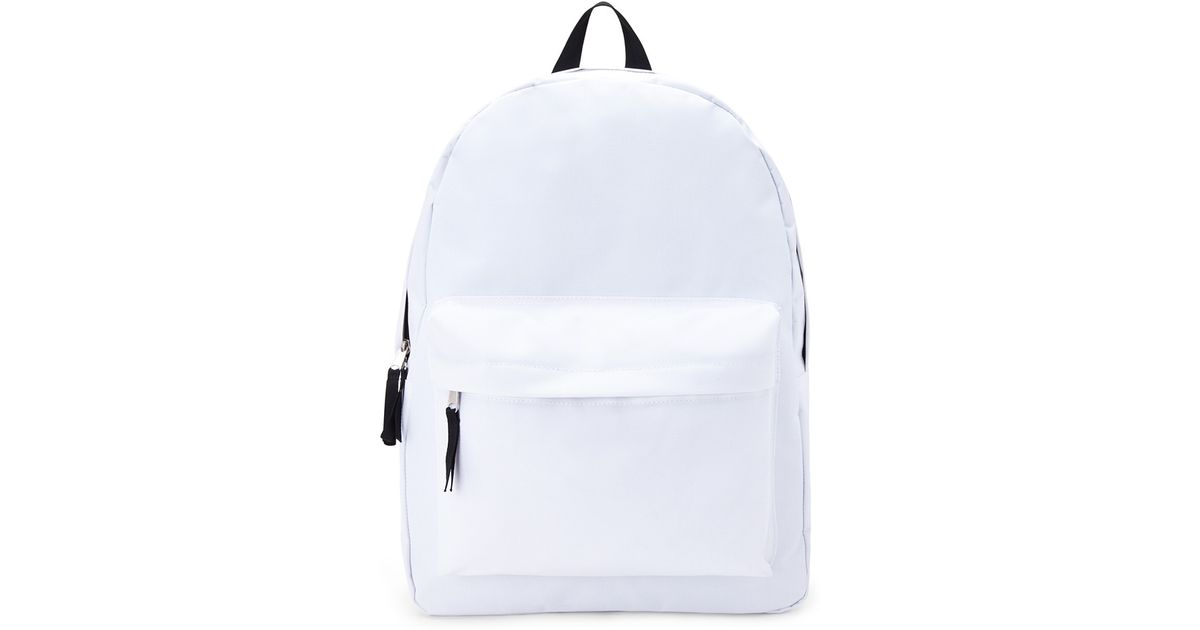 83b771d3673 Forever 21 Classic Zippered Canvas Backpack in White - Lyst