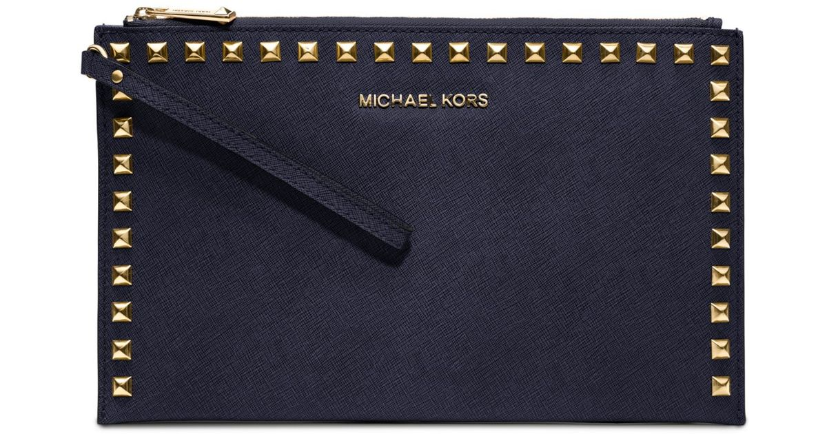 31491960ce3c3b Michael Kors Selma Large Studded Saffiano Leather Wristlet in Blue - Lyst