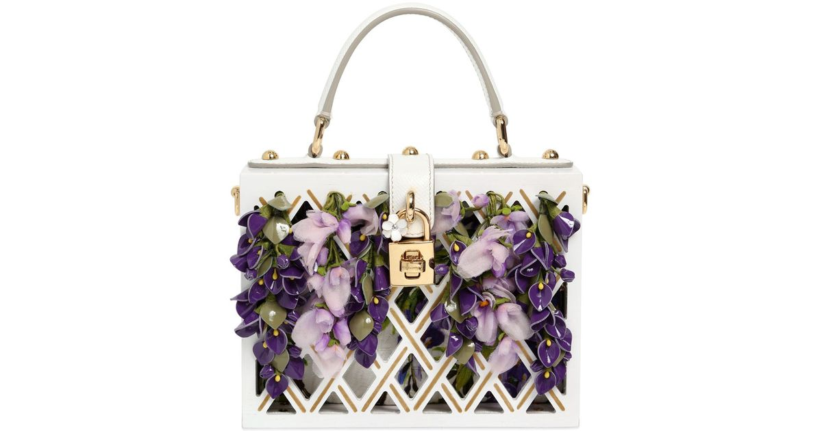 966049674e11 Lyst - Dolce   Gabbana Dolce Wooden Bag With Floral Details in White