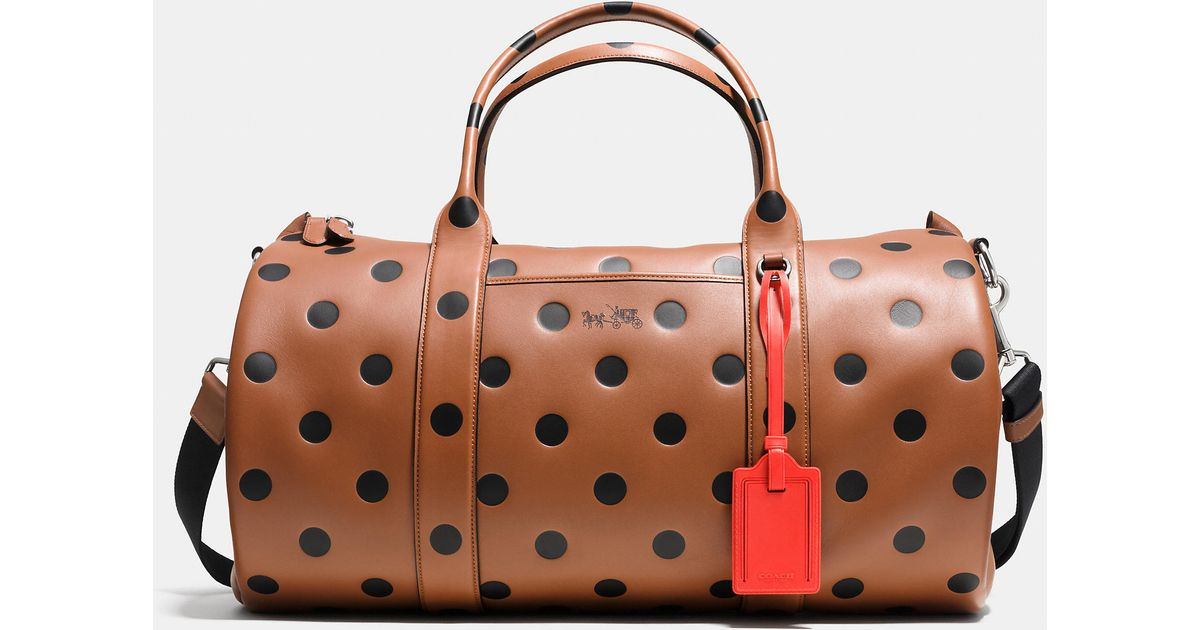 ... official store lyst coach barrel bag in saddle dot leather in brown  18d52 df744 71628432ddda5