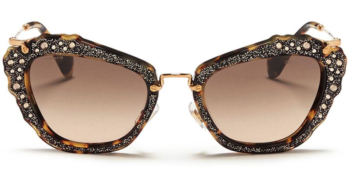 e1fbc3d88a3e Miu Miu Glitter Tortoiseshell Acetate Cat Eye Sunglasses - Lyst
