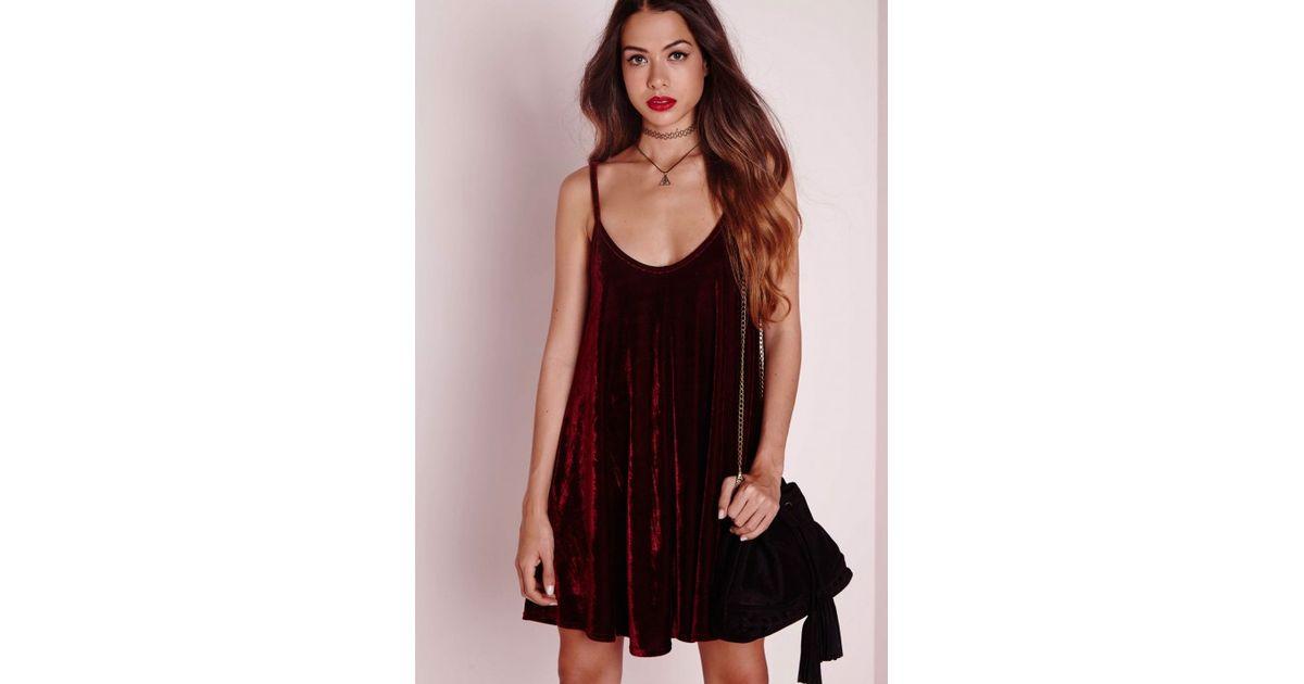 4caa4cccd2d7 Lyst - Missguided Strappy Velvet Swing Dress Burgundy in Black