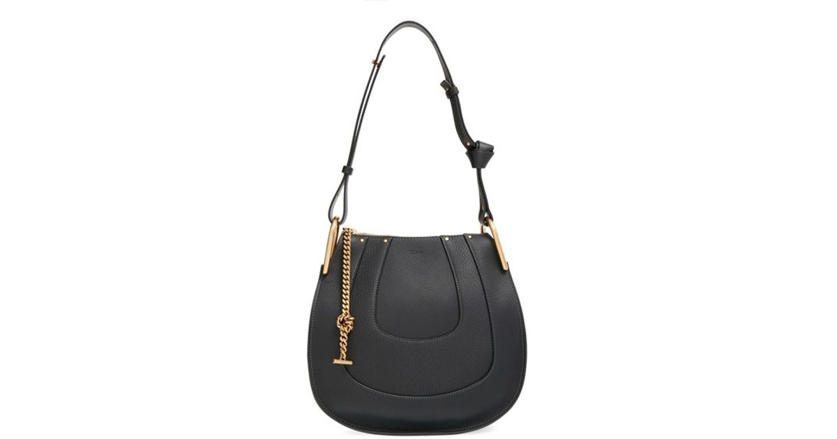 Chloé Small Hayley Leather Shoulder Bag in Black | Lyst