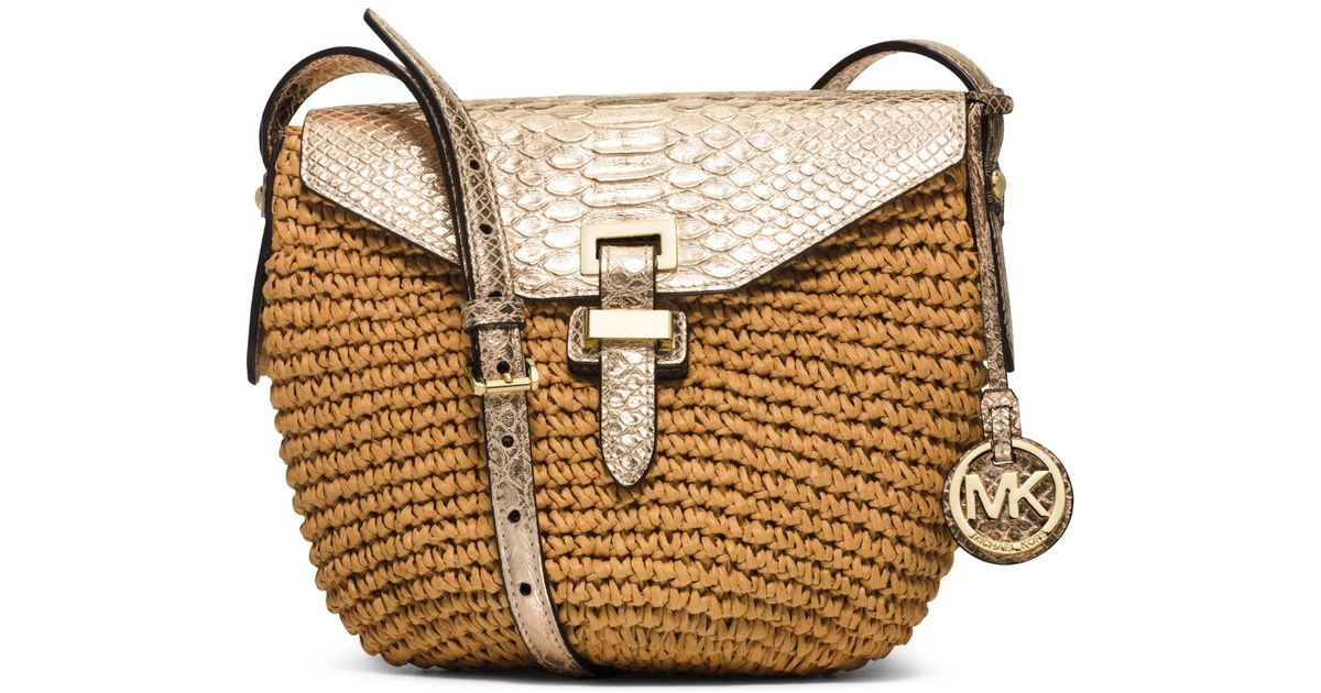 a79daae87 Michael Kors Naomi Medium Woven Straw Crossbody in Metallic - Lyst