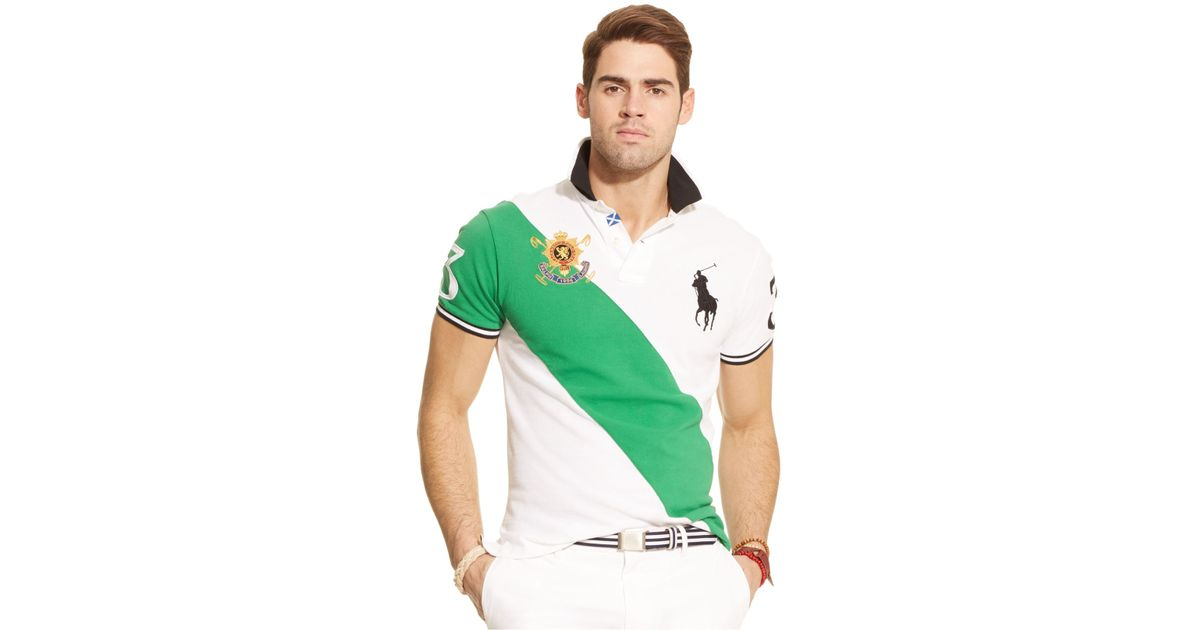 Polo ralph lauren Black Watch Custom-Fit Banner-Stripe Polo in Green for Men | Lyst