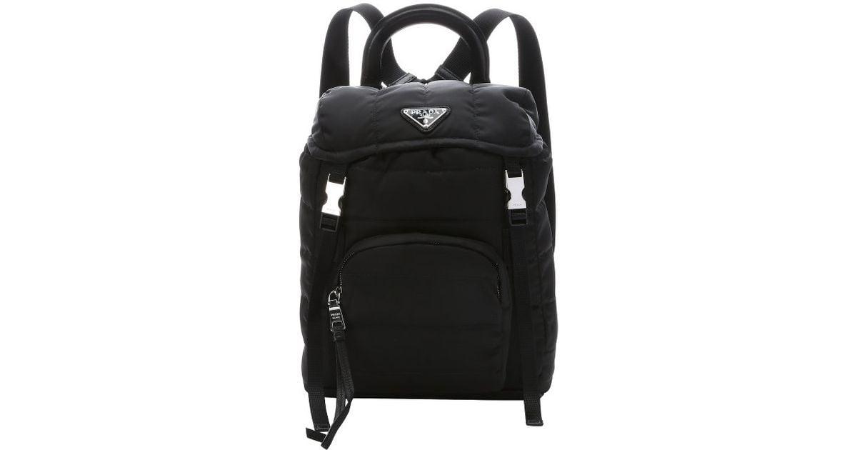 prada handbag with chain - Prada Black Quilted Tessuto Nylon Small Backpack in Black | Lyst