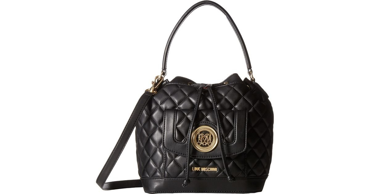 Quilted Bucket Bag - Black Love Moschino F7cCXg