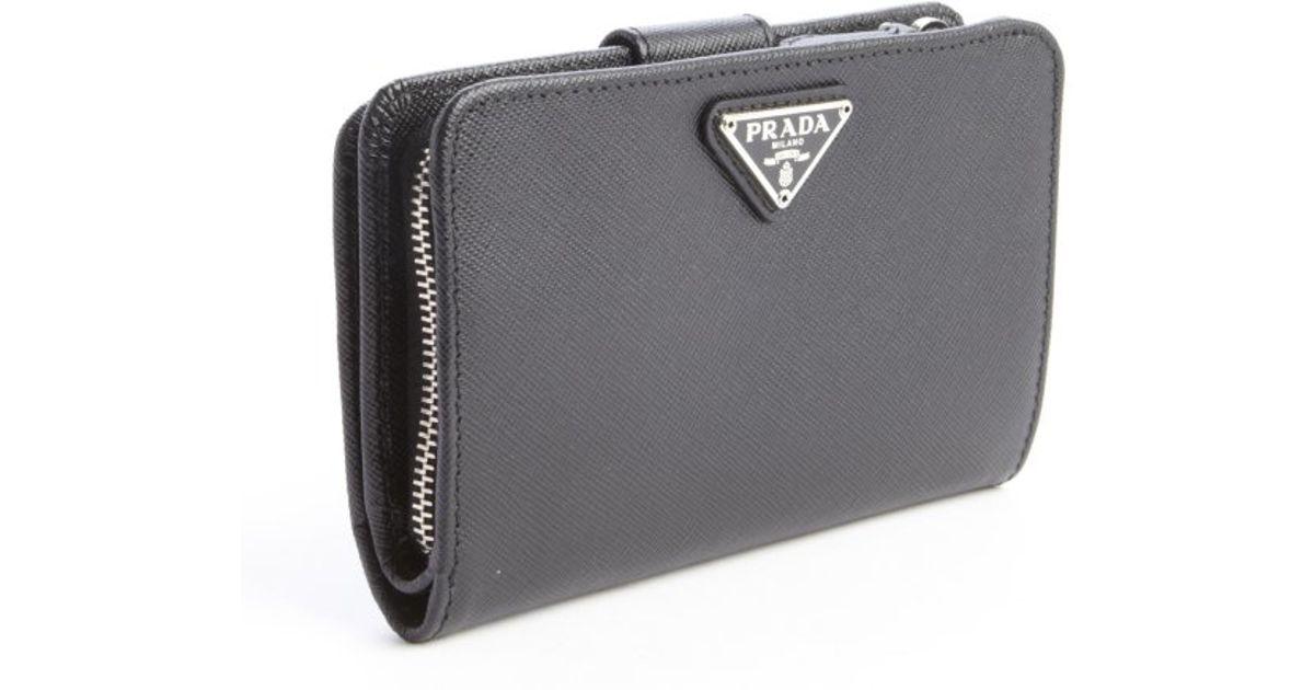 ... amazon lyst prada black saffiano leather logo stamp french wallet in  black 4c639 76283 44cb02b6c60b6