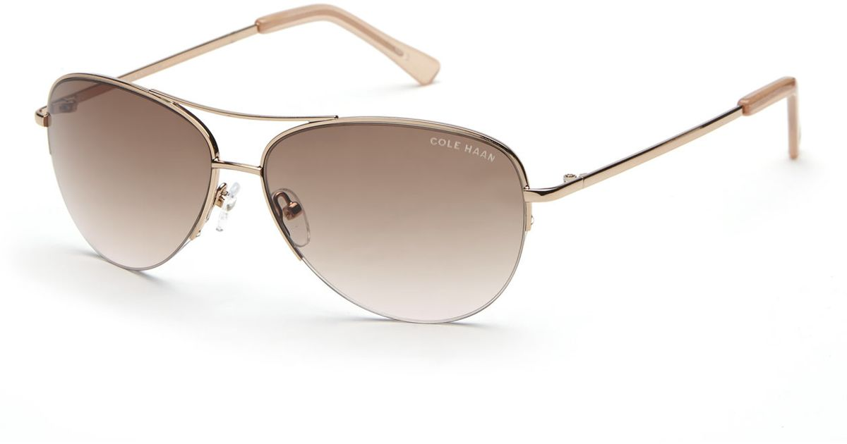 e66e4c40d9 Cole Haan Rose Gold-Tone C6139 Half-Rim Aviator Sunglasses in Metallic -  Lyst