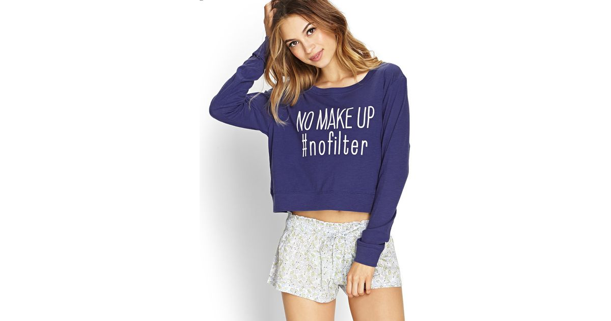 Lyst - Forever 21 No Makeup No Filter Pj Top in Blue 7e3d35989