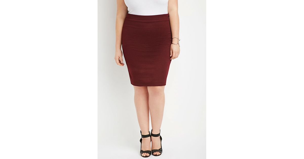 forever 21 plus size textured pencil skirt in purple plum