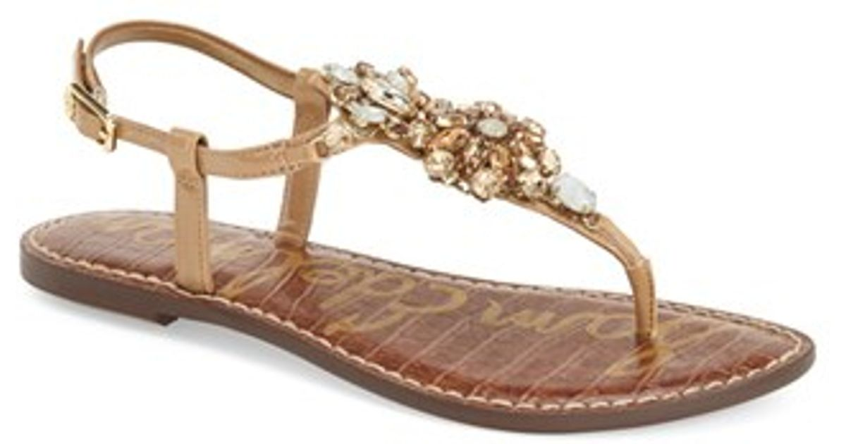 b6909f88ca64 Sam Edelman Grayson Crystal-Flower Leather Sandals in Natural - Lyst