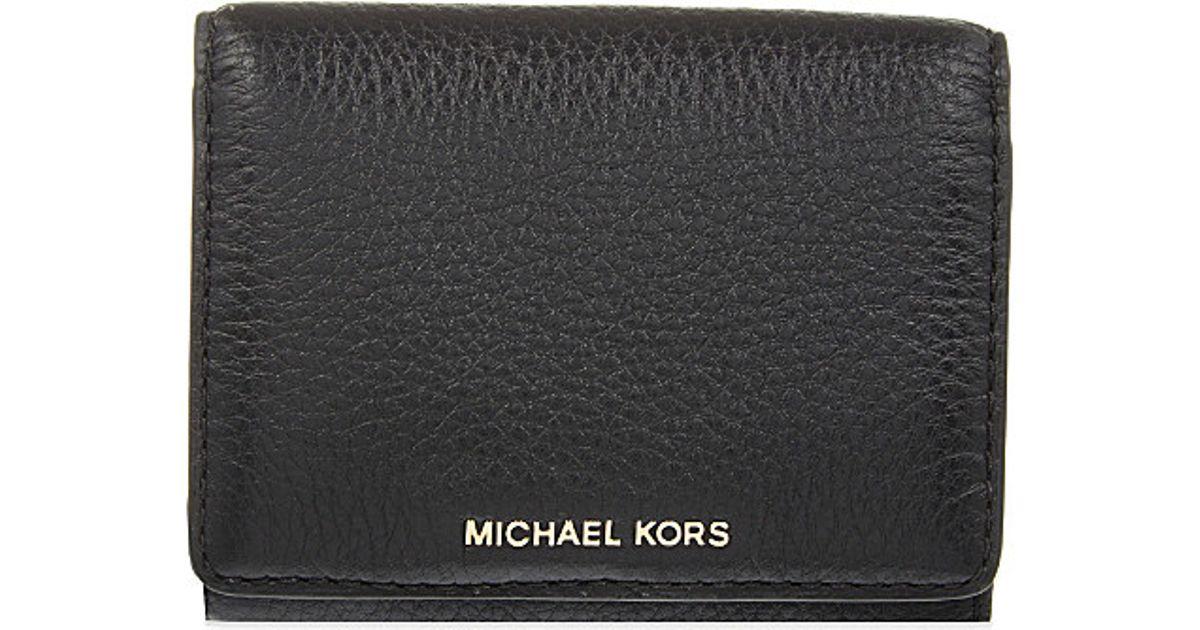 09172df44170 MICHAEL Michael Kors Liane Small Grained Leather Wallet in Black for Men -  Lyst