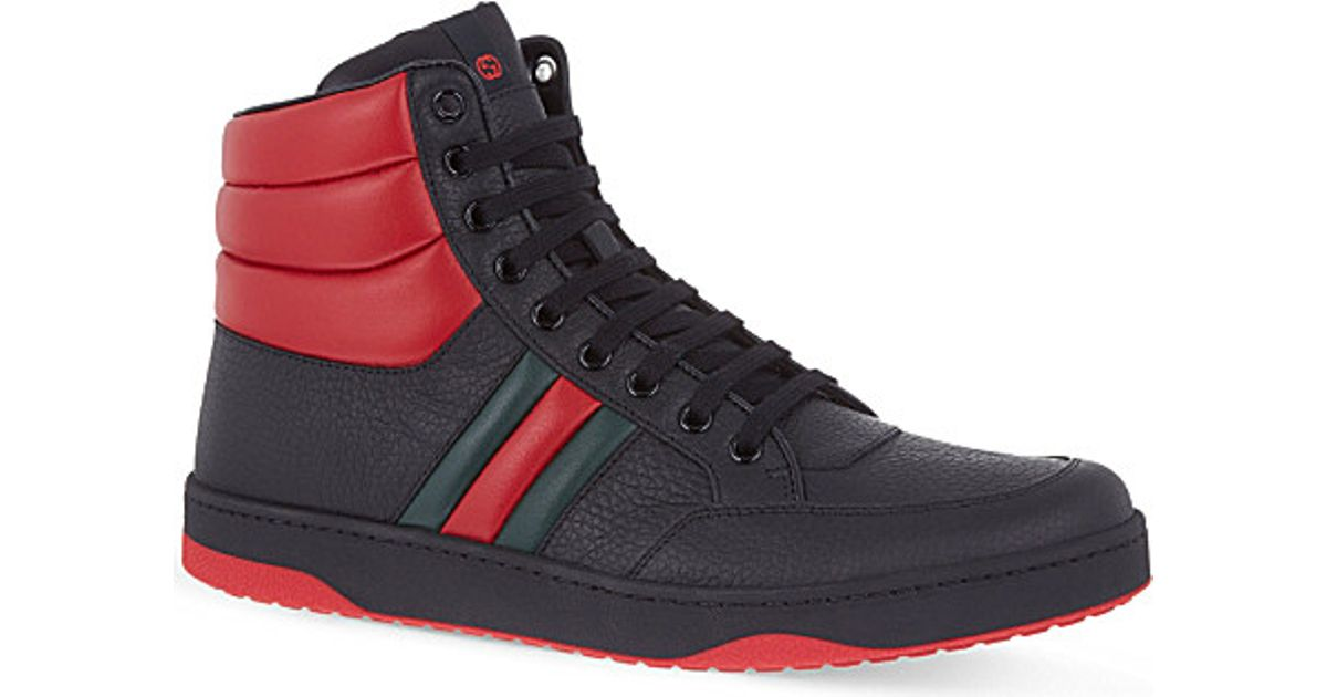 9d13f41972bf Lyst - Gucci Ronnie Padded High-top Trainers in Red for Men