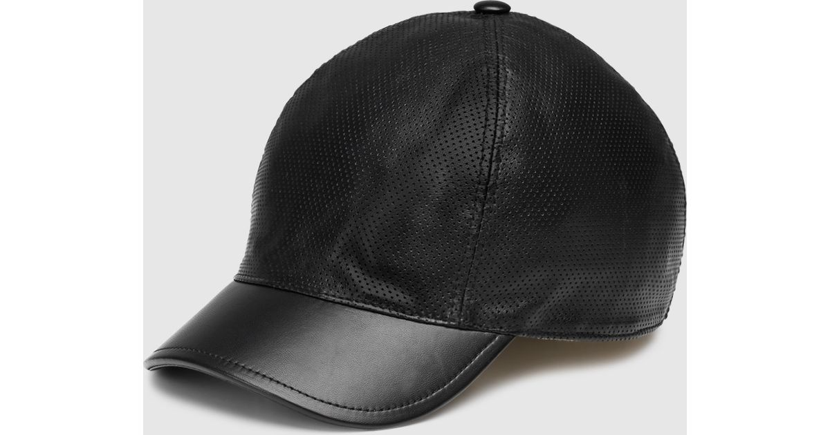 Lyst - Gucci Black Leather Baseball Hat in Black for Men 7e960c72f04