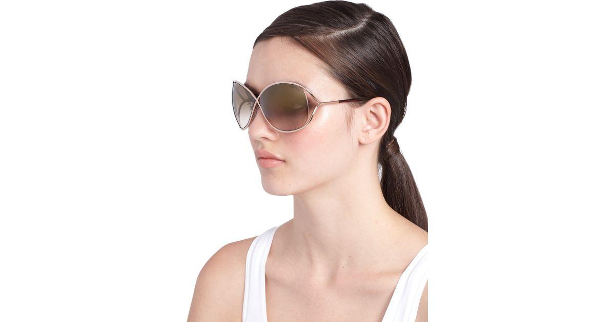 664cae23b277 Lyst - Tom Ford Miranda Oversized Round Sunglasses in Brown