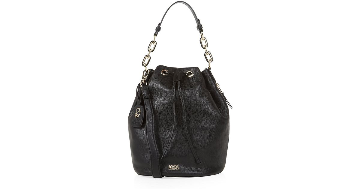 e168a64eb263 Karl Lagerfeld Grainy Leather Bucket Bag in Black - Lyst