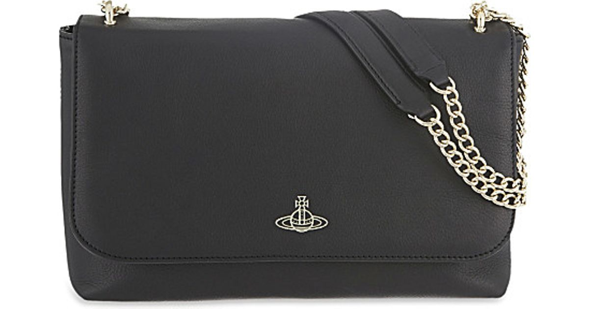 521d3c3d8bdb Vivienne Westwood Spencer Grained Leather Shoulder Bag in Black - Lyst