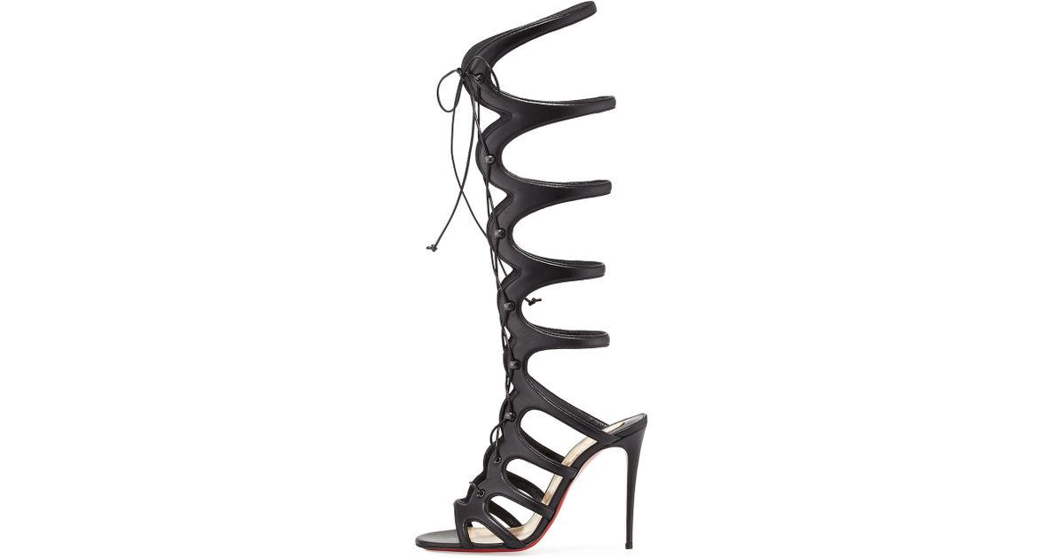 Christian louboutin Amazoula 100mm Leather Tall Gladiator Red Sole ...