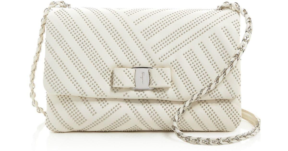 Lyst - Ferragamo Gelly Medium Stud Shoulder Bag in White b9161028932f5