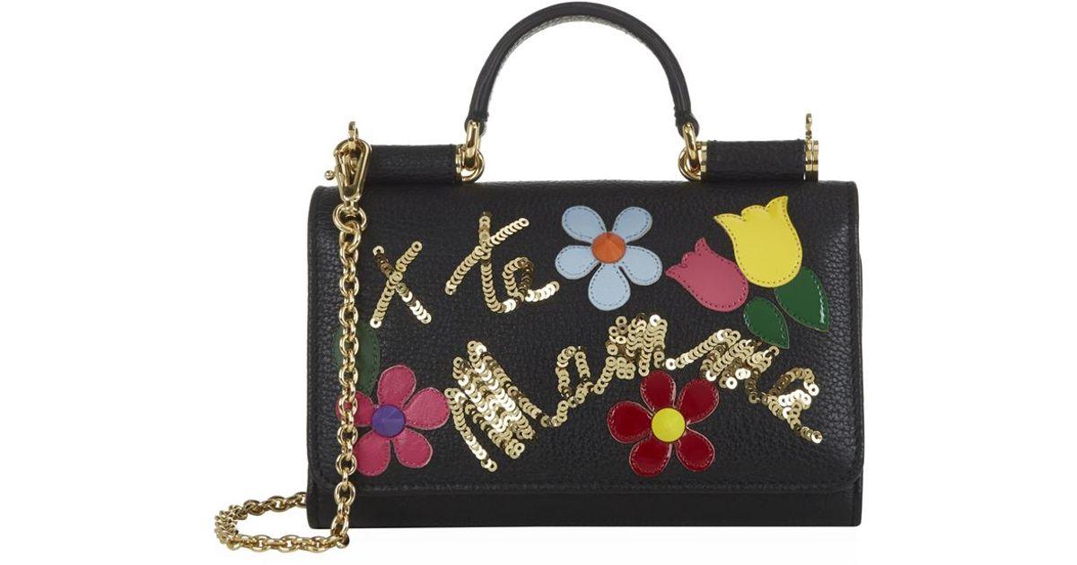 fc69a3893442 Dolce   Gabbana Sicily Embellished Phone Bag in Black - Lyst