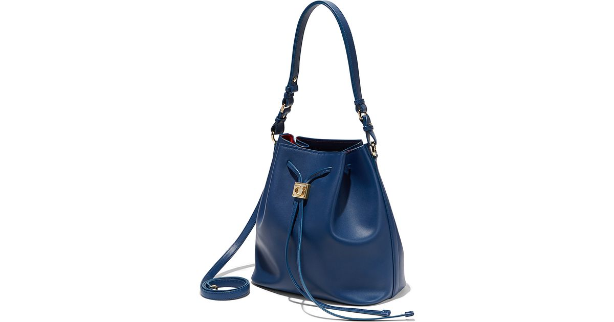 Lyst - Ferragamo Bucket Drawstring Shoulder Bag in Blue 7eb8d713e5d22